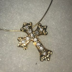 14k Cross Pendent and Necklace